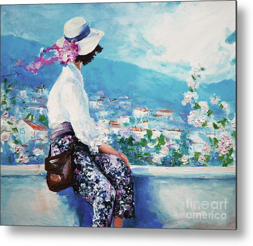 Dress Metal Print featuring the digital art Oil Painting, Woman Sitting And Looking by Maria Bo