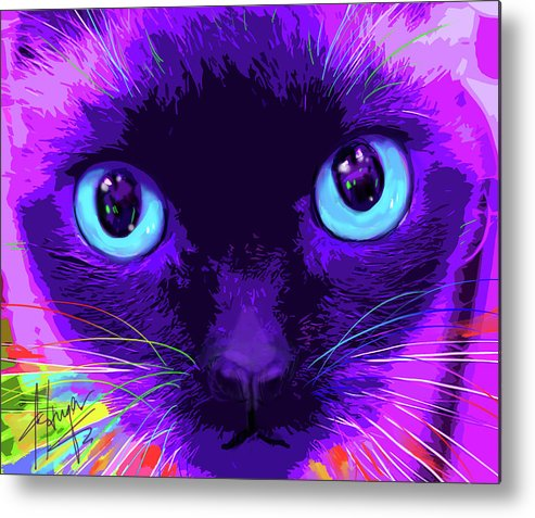 Bubble Metal Print featuring the painting pOpCat Bubble by DC Langer