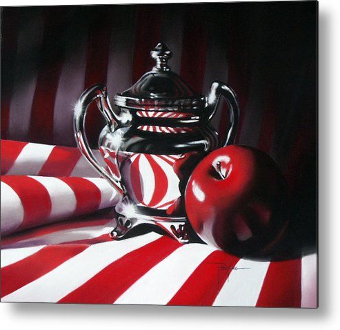 Apple Metal Print featuring the pastel Red White And Apple by Dianna Ponting