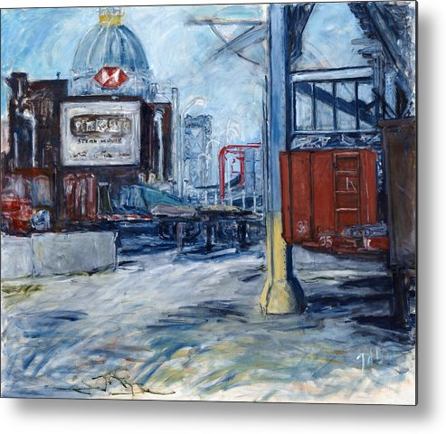 Cityscape Industrial New York Metal Print featuring the painting Williamsburg1 by Joan De Bot