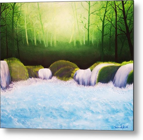 Landscape Metal Print featuring the painting Forest Waterfall by Misuk Jenkins