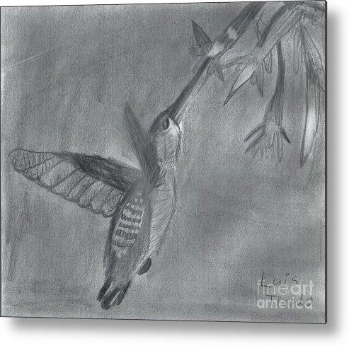 Flying Hummingbird Metal Print featuring the painting Hummingbird by Epic Luis Art