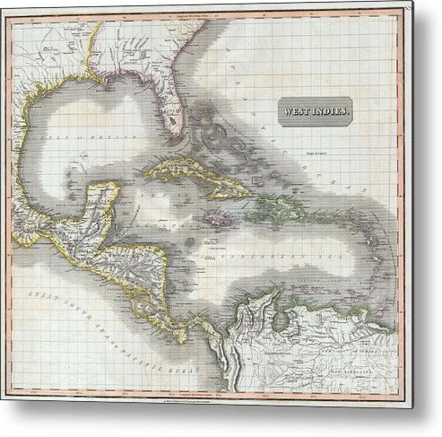 A Masterpiece. This Fascinating Hand Colored 1814 Map By Edinburgh Cartographer John Thomson Depicts The West Indies And Central America. Covers From The Carolinas South Through Texas Metal Print featuring the photograph 1814 Thomson Map Of The West Indies And Central America by Paul Fearn