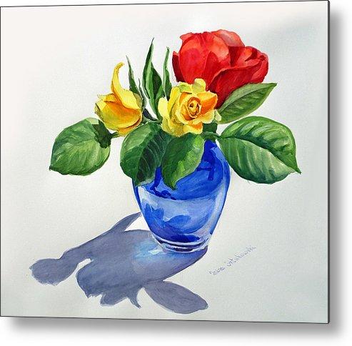 Red Metal Print featuring the painting Roses by Irina Sztukowski