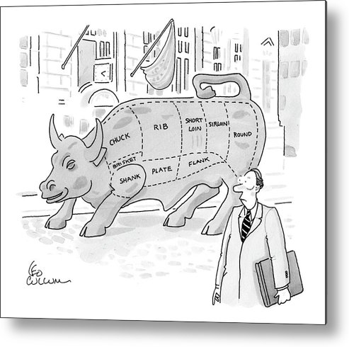 Captionless Metal Print featuring the drawing Wallstreet Bull by Leo Cullum
