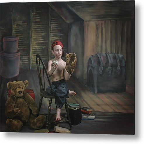 Studio Metal Print featuring the photograph A Boy In The Attic With Old Relics by Pete Stec