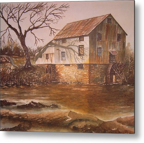 Landscape Metal Print featuring the painting Anderson Mill by Ben Kiger