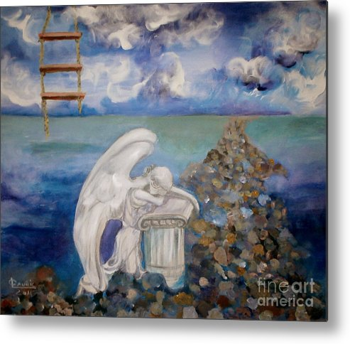 Metal Print featuring the painting Angel Lost by LAURIC Sophia-Cristina