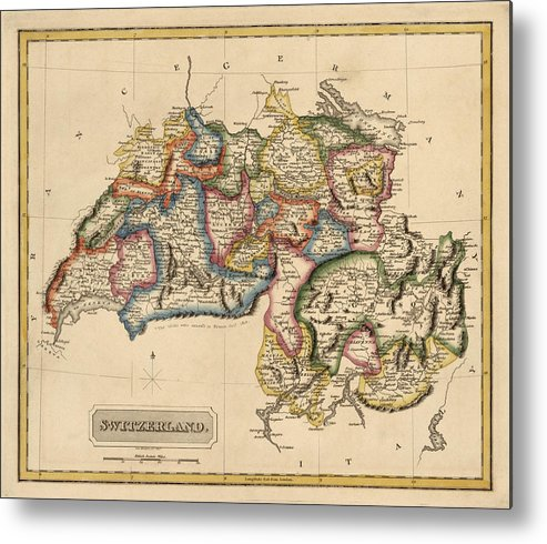 Switzerland Metal Print featuring the drawing Antique Map Of Switzerland By Fielding Lucas - Circa 1817 by Blue Monocle