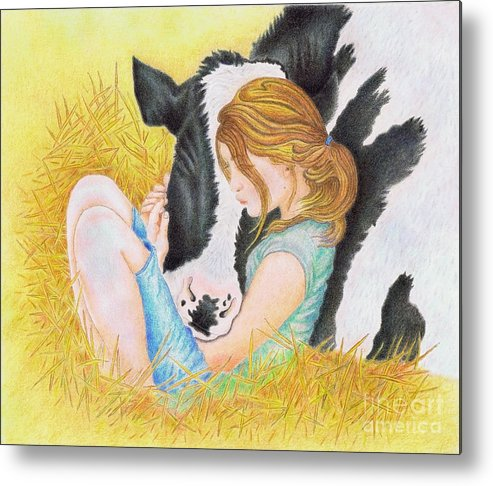 Cows Metal Print featuring the painting Compassion by Jodi Bauter