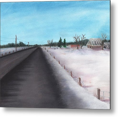 Calm Metal Print featuring the painting Country Road by Anastasiya Malakhova