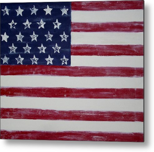 American Flag Metal Print featuring the painting Distressed American Flag by Holly Anderson