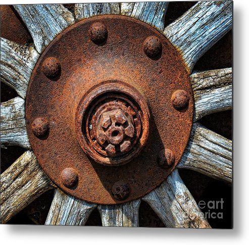 Wheel Metal Print featuring the photograph Junk Yard Wheel Hub And Wooden Spokes by Henry Kowalski