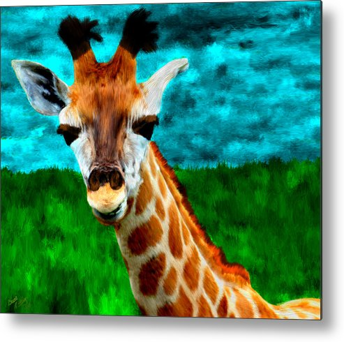 Grass Metal Print featuring the painting My Favorite Giraffe by Bruce Nutting