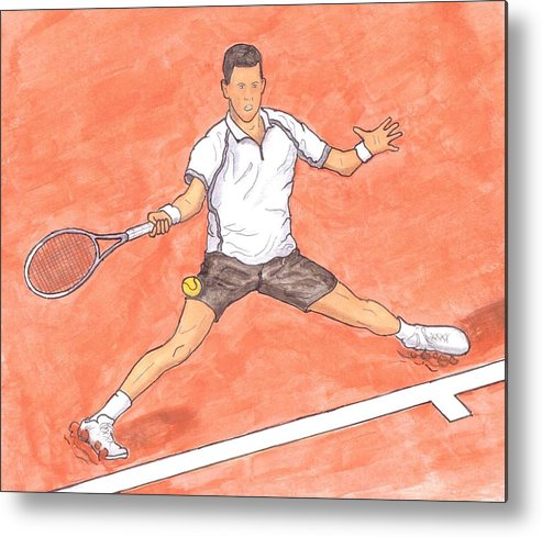 Novak Djokovic Metal Print featuring the painting Novak Djokovic Sliding On Clay by Steven White