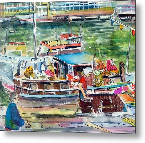 Boat Metal Print featuring the painting Paris House Boat by Mindy Newman