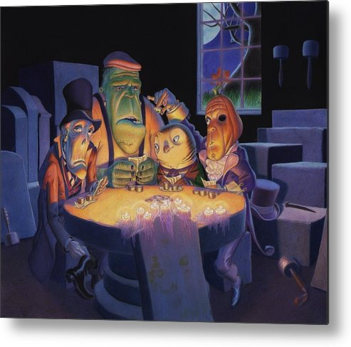 Halloween Metal Print featuring the painting Poker Buddies by Richard Moore