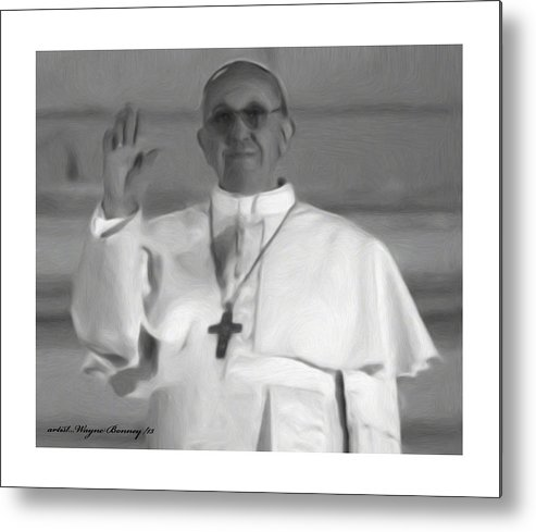 The Pope Metal Print featuring the painting Pope St. Francis I by Wayne Bonney