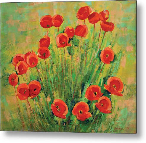 Poppies Metal Print featuring the painting Poppies by Iliyan Bozhanov