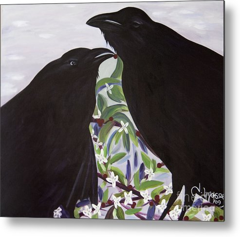 #raven Metal Print featuring the painting Ravens Song by Jacquelinemari