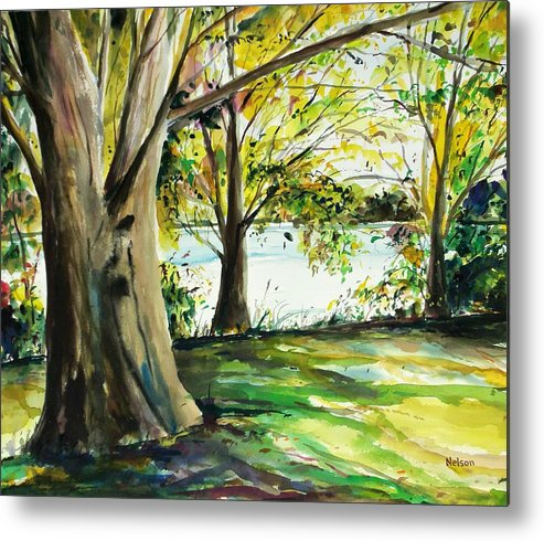 Watercolor Metal Print featuring the painting Singeltary Shade by Scott Nelson