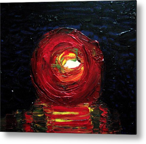 Red Metal Print featuring the painting Social Responsibility - Series 'live And Let Live' by Sunil Abraham