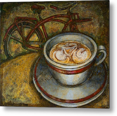 Coffee Metal Print featuring the painting Still Life With Red Cruiser Bike by Mark Jones