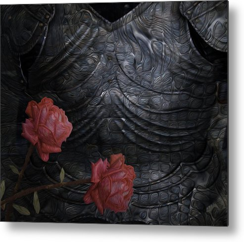 Digital Metal Print featuring the painting Strength Of A Rose by Jack Zulli