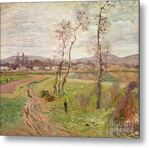 The Plain At Gennevilliers Metal Print featuring the painting The Plain At Gennevilliers by Claude Monet