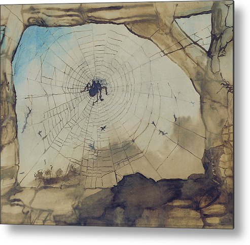 Spider Metal Print featuring the painting Vianden Through A Spider's Web by Victor Hugo