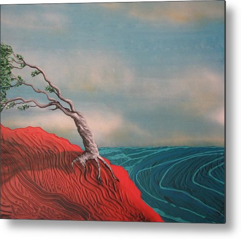 Wind Swept Tree Metal Print featuring the painting Wind Swept Tree by Joan Stratton