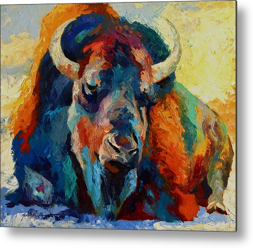 Wildlife Metal Print featuring the painting Winter Bison by Marion Rose