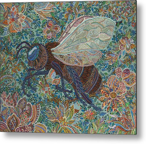 Bee Metal Print featuring the painting Pollenator by Erika Pochybova
