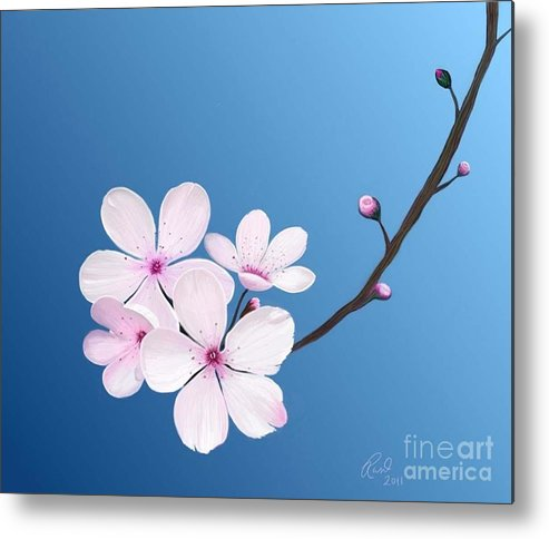Flowers Metal Print featuring the painting Cherry Blossoms by Rand Herron