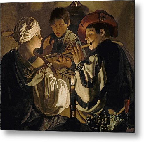 Flute Player; Flute; Musician; Chiaroscuro; Singing; Trio; Lute; Flautist Metal Print featuring the painting Concert by Hendrick Ter Brugghen