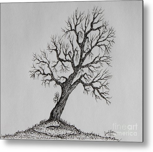Hilltop Metal Print featuring the painting Hilltop Crooked Tree by Jack G Brauer