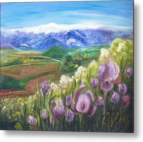 Iris Metal Print featuring the painting Iris Hill Watches Hermon by Sara Kesar