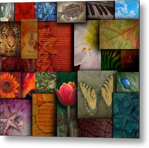 Abstract Metal Print featuring the photograph Mosaic Earth Tone Nature Rough Patterns by Angela Waye