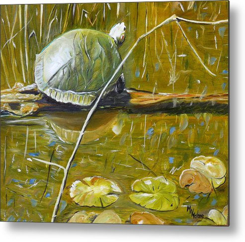 Turtle Metal Print featuring the painting On The Lookout by Mark Malone