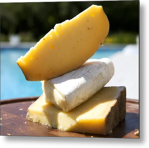 Cheese Metal Print featuring the photograph Three Cheeses by Federico Arce