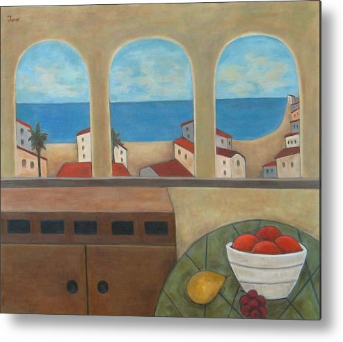 Landscape Metal Print featuring the painting Tres Ventanas by Trish Toro