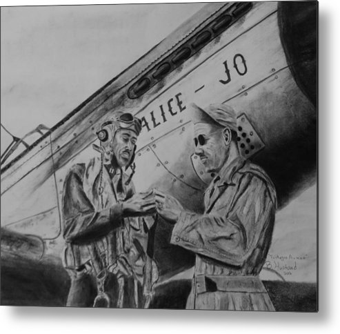 Military Aircraft Metal Print featuring the drawing Tuskegee Airmen by Brian Hustead