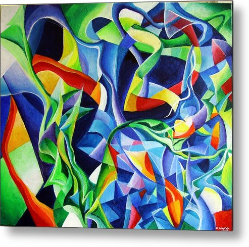 Claude Debussy Acrylic Abstract Pens Music Metal Print featuring the painting La Mer by Wolfgang Schweizer