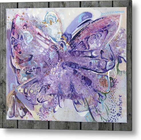 Butterfly Metal Print featuring the mixed media 1 by Tatsiana Roubine