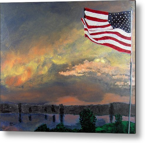 Flag Metal Print featuring the painting 9 11 2001 by Stan Hamilton