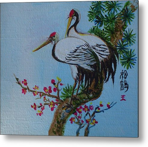 Asian Cranes Metal Print featuring the painting Asian Cranes 4 by Min Wang