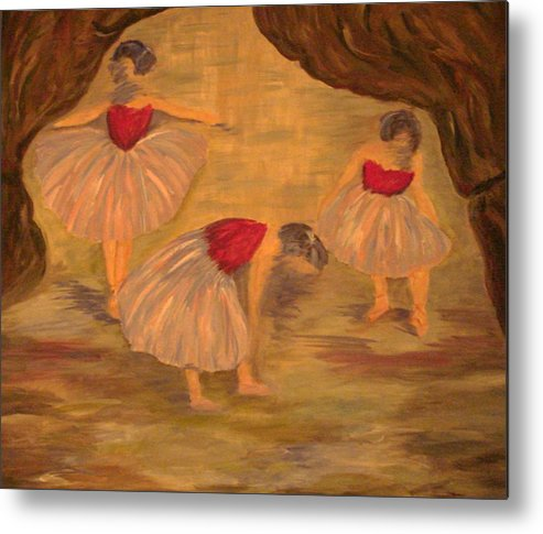 Ballet Metal Print featuring the painting Ballerinas With Blue Hair by Kimberly Hill
