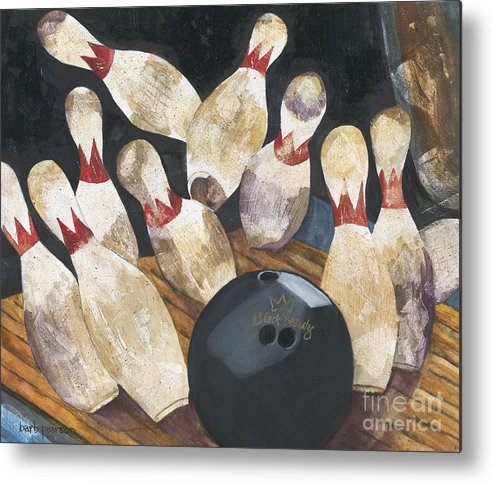 Bowling Metal Print featuring the painting Black Beauty by Barb Pearson