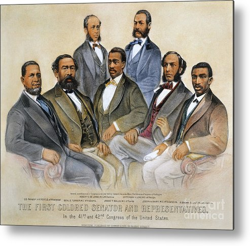 -acts & Administrations- Metal Print featuring the photograph Black Senators, 1872 by Granger
