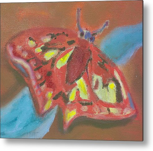 Butterfly Red Fantasy Hillaryart Metal Print featuring the painting Butterfly by Hillary McAllister